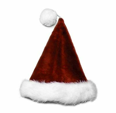 Halco Soft Plush Santa Hat - Burgundy or Red - Plush Santa Hats