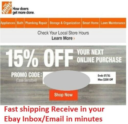 (x1) Home Depot Coupon 15% Off For Online Purchase Only Fast Shipping Exp 7/31