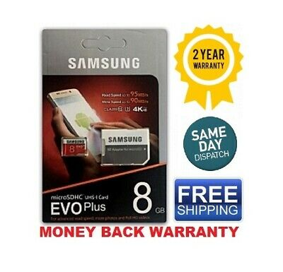 SAMSUNG EVO Plus Micro SD 8GB Class 10 Flash Memory Card w/SD Adapter FREE SHIP](samsung 8gb memory card)