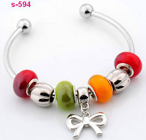 Stylish-lampwork-glass-silver-European-beaded-charms-designed-bangle-bracelet-JP