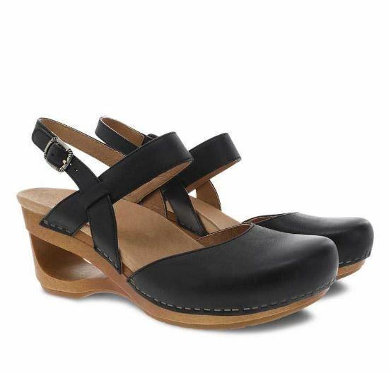 New DANSKO Womens Taci Black Waxy Calf Leather Closed Toe Sandals 3413021500