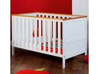 Obaby Newark Cot Bed - White with Pine Trim USED (rrp new £189.99)