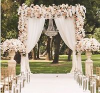Flower Wall Wedding Arch Backdrop With Drapes