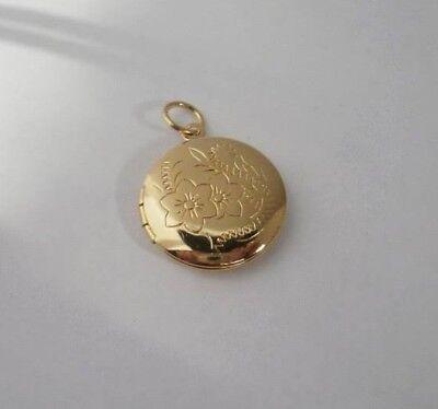 24k Gold Plated round locket with flower design lifetime warranty