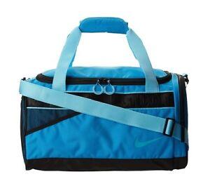 NWT Nike Varsity Medium Tarpaulin Duffel Gym Bag Vivid Blue Black BA4732 404 bfd3e136c8a28