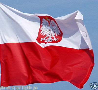 NEW 2 X 3 FT POLAND WITH EAGLE POLISH FLAG BANNER better quality usa seller