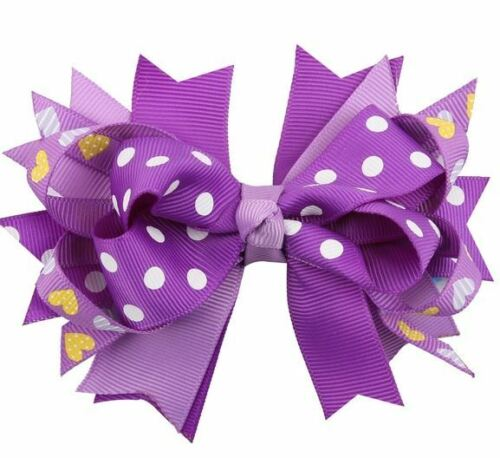 Beautiful Cloth Hair Bow Accessories– Purple Polka Dots w/Hearts. Free Shipping