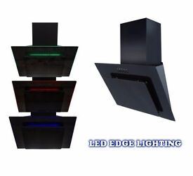 70cm Multi Colour LED Edge Lit Black Angled Glass Cooker Hood (Graded)