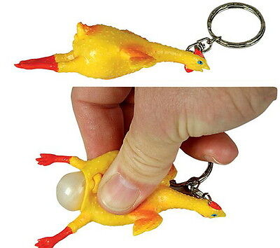 LOT OF 24 RUBBER CHICKEN WITH EGG KEY CHAINS  FUN CARNIVALS PARTY GOODY BAGS