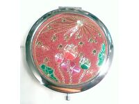 Pink Tulip Compact Make-up Mirror 70 mm Chrome