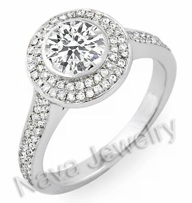 3.25ct Round Cut Diamond Engagement Ring Bridal Set GIA