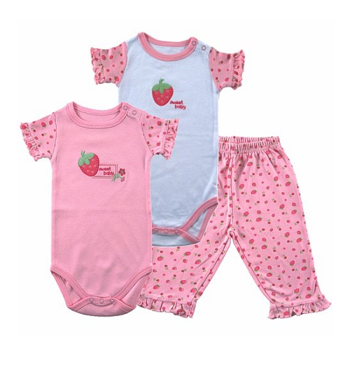 Hudson Baby Sweet Baby 2 Bodysuits and Pants, Pink, 0-3 Mont