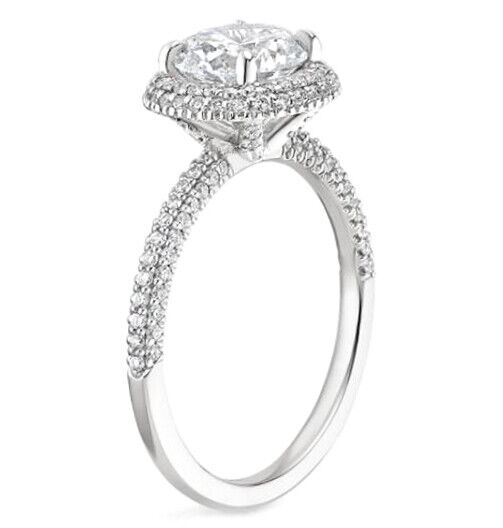 GIA Certified Diamond Engagement Ring 2.52 carat total Oval & Round Cut 14k Gold 1
