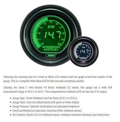 Genuine Prosport Evo 52mm Green White Gauge Wideband AFR Air Fuel with sensor