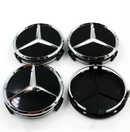 4PCS 75mm Wheel Center Hub Cap Rim Caps Emblem Blue Fit Mercedes Benz W203