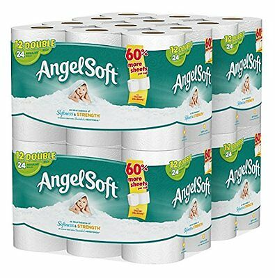 Angel Soft 48 Double Roll Toilet Paper. Bath Tissue 2 Ply Bulk Lot Pack Bathroom
