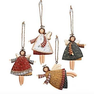 """36Ct Country Angels Christmas Tree Ornaments Old-time Style Decorations Metal 4"""""""