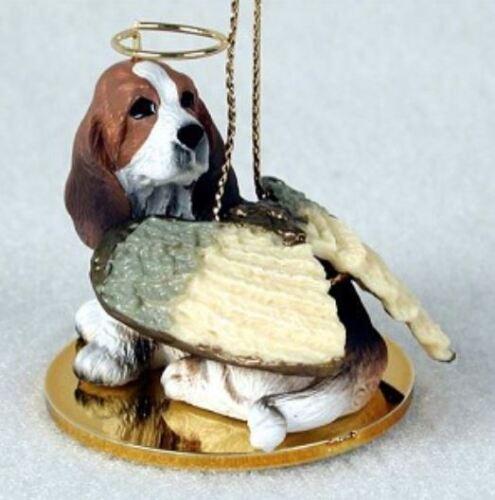 BASSET HOUND ANGEL DOG CHRISTMAS ORNAMENT HOLIDAY Figurine Statue Memorial gift