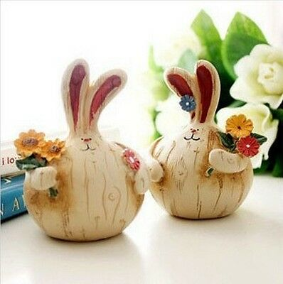 Retro Style Two Rabbit Flower Home Decor Ornament Table Decoration Resin