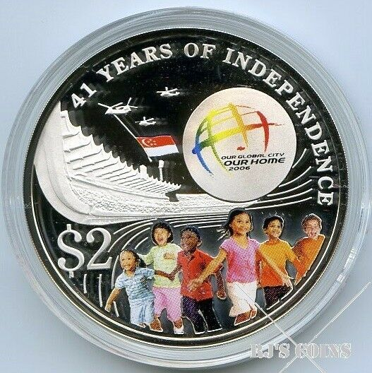 Singapore 2006 NDP $2 Silver Proof Coloured Coin issued to mark the 41st Year of Independence