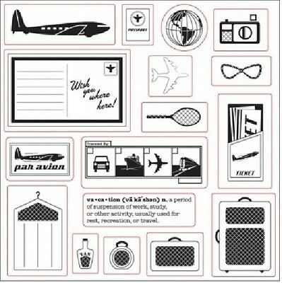 Fiskars Clear Stamps 8X8 Away We Go Now Boarding Vacation Travel Lil Davis