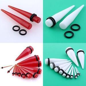 2pcs-Red-White-UV-Acrylic-Gauge-Taper-Ear-Plug-Stretcher-Expander-Flesh-Kit