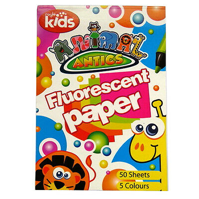 Children's Fluorescent Paper Pad - 50 Sheets in 5 Colours  - Animal Antics