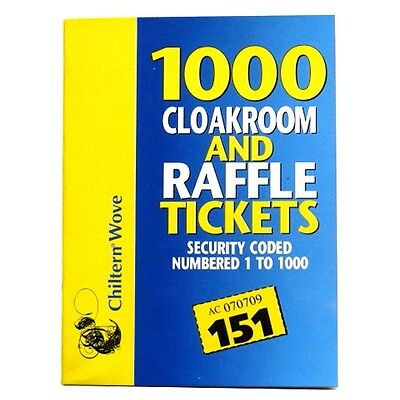 Cloakroom and Raffle Ticket Book - Numbered 1 - 1000 - And Security coded