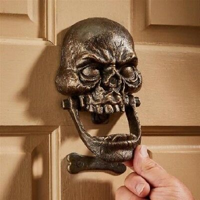 Knock Jaw Skull Cast Iron Medieval Gothic Large Door Knocker Halloween Decor - Halloween Knock Door