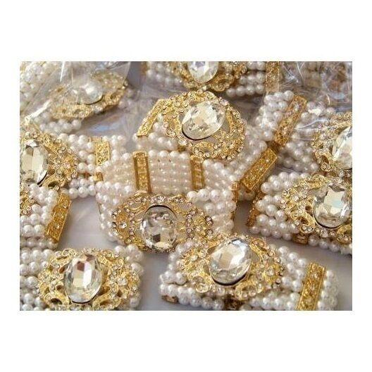 Wholesale Bulk Lot 8 Luster White Pearl Bead & Rhinestone Cab Stretch Bracelets