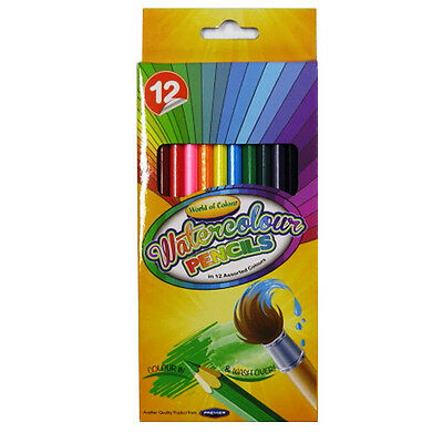 Watercolour Pencils - Pack of 12, Mixed Colours - by World of - World Of Pencils