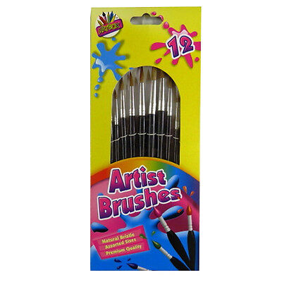 Artists Natural Bristle Brushes - Pack of 12 - Assorted Sizes