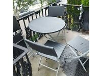 garden rattan folding table and four chairs can deliver