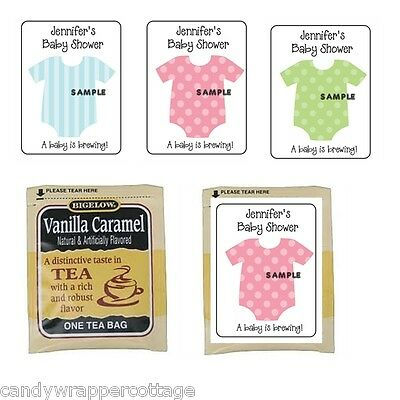 30 Cute Baby Onesie Shower Personalized Tea Bag Labels or Coffee Favors 30 Personalized Baby Shower Coffee