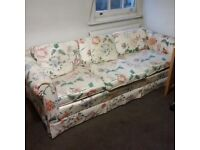 large 3 seater sofa with floral fabric can deliver