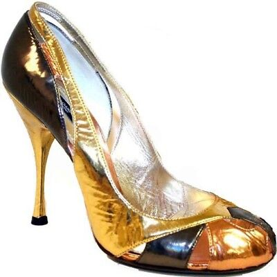 Dolce & Gabbana Gold Bronze Open Toe Cut out Details Leather Shoes