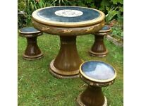beautiful garden or patio glazed terracotta table and three stools can deliver