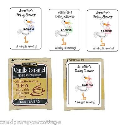 30 Stork Holding Baby Shower Personalized Tea Bag Labels or Coffee Party Favors 30 Personalized Baby Shower Coffee