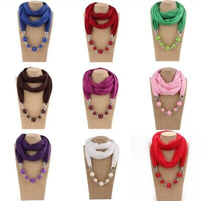 Women Solid Fall Beaded Drop Pendant Bib Necklace Vintage Warm Neck Scarf Chain Vintage Scarf & Chain Necklace