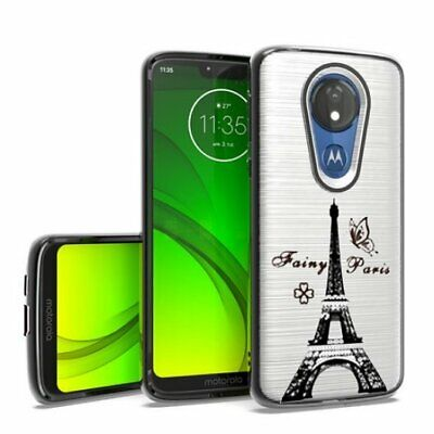 Motorola Moto G7 Power - Hard Rubber Phone Case Cover Silver Paris Eiffel Tower