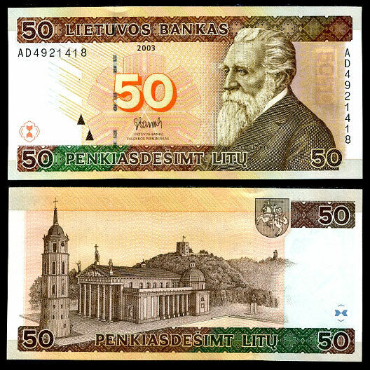 LITHUANIA 50 LITU 2003 P 67 UNC