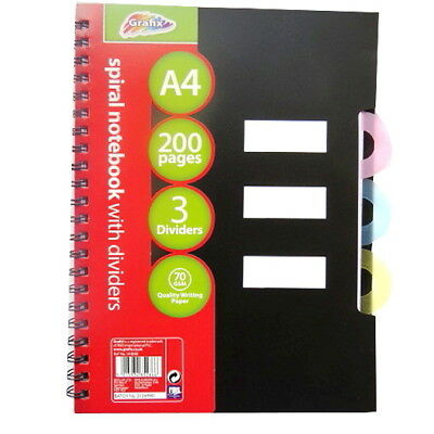 A4 Wirebound Project Notebook - 200 Pages & 3 Colour Thumb Cut Dividers - Ruled