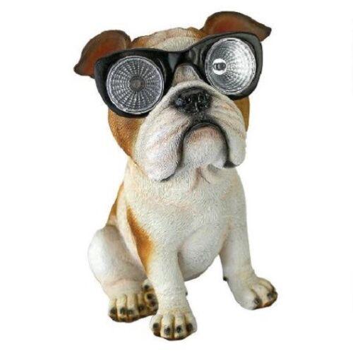 Cute Bulldog Statue Solar Glasses Accent Light Puppy Dog Lighted Sculpture