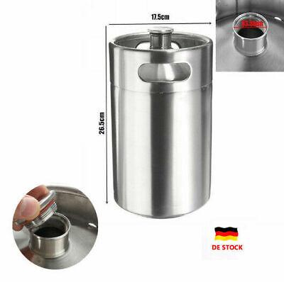5L Edelstahl Fass Growler Keg Hause brauen Mini Bierfass Flasche Silber 25PSI DE - Mini-bierfass