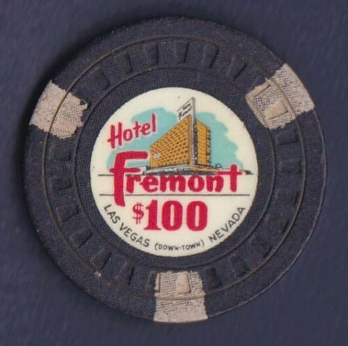HOTEL FREMONT $100 LAS VEGAS CASINO CHIP 1955 THE CHIP RACK # N9759 RATED R+