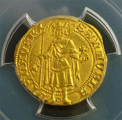 Click now to see the BUY IT NOW Price! 1382 KINGDOM OF HUNGARY LOUIS I.  GOLD GULDEN DUCAT COIN. PCGS MS 64