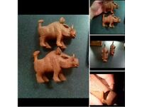 2x Wooden Carved Warthogs Exeter