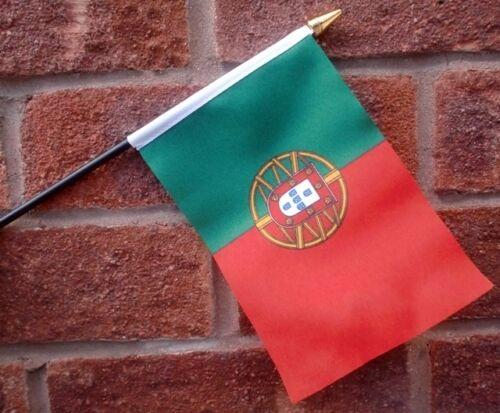 """PORTUGAL HAND WAVING FLAG Small 6"""" x 4"""" with black pole Portuguese Porto algarve"""
