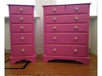 Chest of Drawers x 2 (Fuchsia Pink) Solid Wood with Cream Ceramic Handles