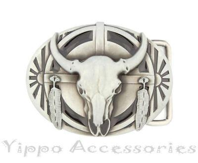Native American Ceremonial Buffalo Skull Western Metal Fashion Belt Buckle
